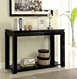 Furniture of America Kappa Contemporary Glass Top Sofa Table, Black