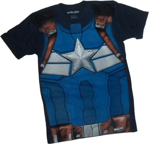 Costume - Captain America: The Winter Soldier Movie T-Shirt, Large Navy