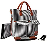ZIZU Designer Diaper Bag with Loads of Pockets to Fit Everything you Need, Fabric, Zippers & Comfy Soft Straps -Large, Grey Stripes