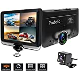 Podofo Dashcam 360 Degrees Panoramic Dual Camera Car Driving Recorders DVR Car Video with Rear view Camera Gravity Sensor Night Vision