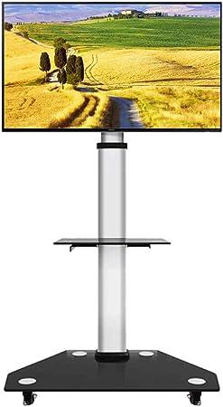 Soporte TV Trole Carro de vidrio para televisor de pantalla plana LCD de plasma de 30/49/55/65/70/75/80 pulgadas LCD |Soporte de suelo móvil con ruedas con bloqueo, con 2 estantes de almacenamiento, c: