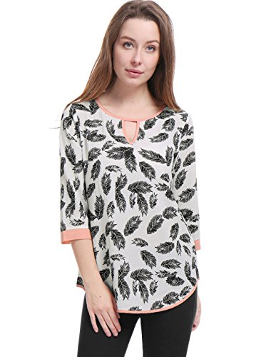 (Allegra K Women's Blouse 3/4 Sleeve Keyhole Feather Printed Contrast Trim Tunic Top White XS (US 2))