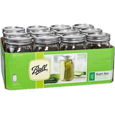 1 Ball Mason Jar Wide Mouth 32 oz. (Quart) with Lid and Band - Clear (12-pack)