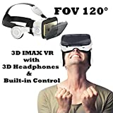 "3D VR Glasses, TSANGLIGHT 3D VR Headset with Headphones for iPhone & Android, Virtual Reality Headset with Built-in Controller for iPhone X 8 Plus, Samsung S8 S7 Edge etc 4.7-6.0"" Smartphone"