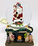 Ridgefield Home Santa Coming Down The Chimney with Gifts - Musical Snow Globe - Plays Up On The Roof-Top