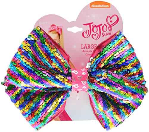 JoJo Siwa Large Cheer Rainbow Hair Bow with Reversible Sequins on Elastic Ponytail Holder, Medium, Multicolor