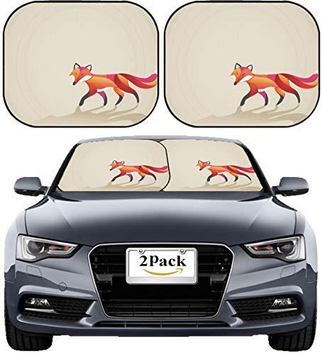 (MSD Car Sun Shade Windshield Sunshade Universal Fit 2 Pack, Block Sun Glare, UV and Heat, Protect Car Interior, Image ID: 30155798 Colorful Fox)