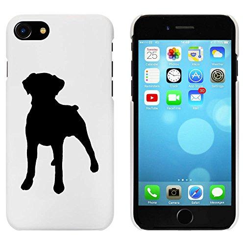 Blanc 'Boxer Silhouette Chien' étui / housse pour iPhone 7 (MC00080824)