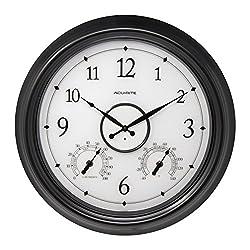 AcuRite LED Illuminated Outdoor Clock, 18, Black