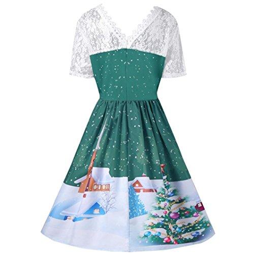 ESAILQ Übergröße Damen Weihnachtsfeier Vintage Kleid Santa Claus ...