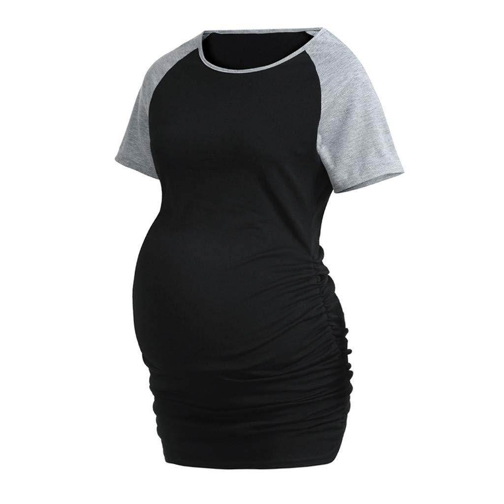 Manche Courte Grande Taille Splice Maternit/é Pullover Blouse Grossesse Doux Chemisier Haut dallaitement Hauts Tee-Shirt Femmes Enceinte Tops T-Shirt Blouse