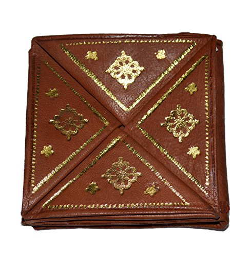 Moroccan Wallet Coin Genuine Leather Bi-fold Handmade Pocket Unisex Brown