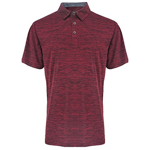 Mens Polo Shirts Quick Dry Tennis Golf T Tops Slim Fit Short Sleeve Active Sport Athletic Clothing Burgundy XL
