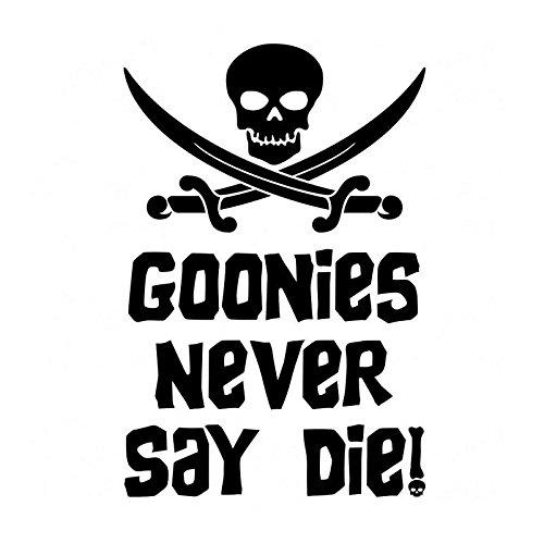 CCI Goonies Never Say Die Funny Skeleton Sword Decal Vinyl Sticker|Cars Trucks Vans Walls Laptop|Black|5.75 x 3.75 in|CCI1706 ()