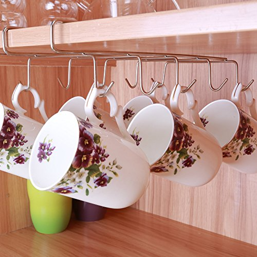 10 Hook Mug Holder Under Shelf Mug Hooks Mug Rack Hanger Coffee Cup Holder Drying Rack for Kitchen Hanging Organizer Rack-Cabinet Hanging Tie Belt Organizer Apply up to 1inch Thickness Shelf