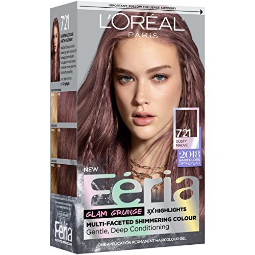 L'Oréal Paris Feria Multi-Faceted Shimmering Permanent Hair Color, 721 Dark Mauve Blonde, 1 kit Hair Dye -