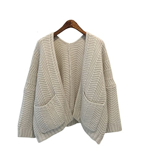 Angora Cardigan (Long-Perfect Women's Loose Knit Open Front Pocket Cardigan Ripple Mercerized Angora Pile Baggy Sweater (Beige))
