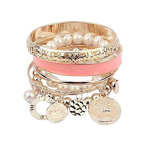 Fashion 1 Set Korean Style Girls Exquisite Coin Pearl Hollow Bracelet (Pink Coin Pearl Bracelet)