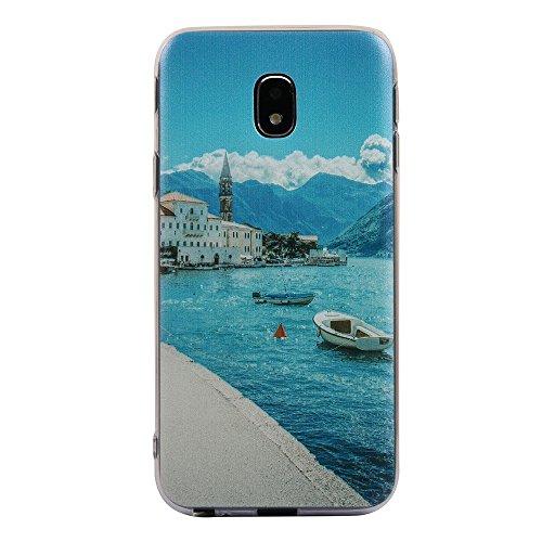 Funda Galaxy J3 2017,EUDTH Suave TPU Gel Funda Case Delgado Silicona Fundas Carcasa Espalda para Samsung Galaxy J3 2017 (5.0 Pulgadas) Datura blanca Barcos