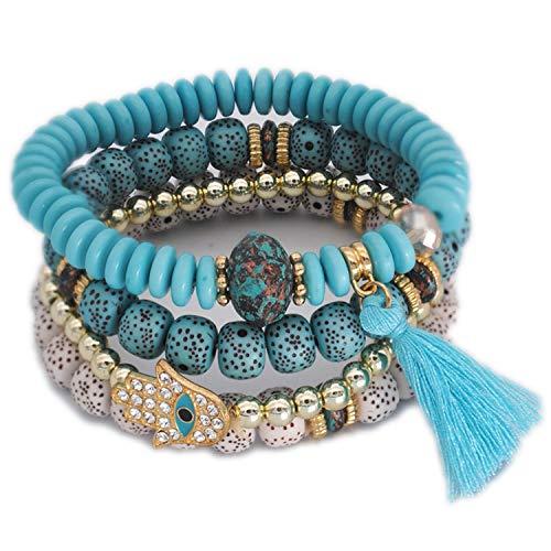 Charm Beads Bracelets Women Vintage Feather Disc Tassel Bracelet & Bangle Set Jewelry Wood Layer Crystal,62turquoise