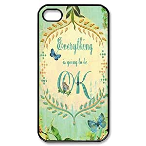 DIY Everything Will Be OK Iphone 4,4S Cover Case, Everything Will Be OK Personalized Phone Case for iPhone 4, iPhone 4s at Lzzcase