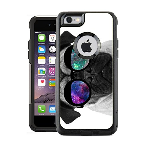 Protective Designer Vinyl Skin Decals for OtterBox Commuter iPhone 6 / 6S Case / Cover - Pug Geek Space Hipster Galaxy Design Pattern - Only SKINS and NOT Case - - With Specs Cute Baby