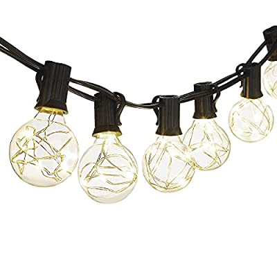 Cymas G40 Globe String Lights, 18.2Ft Indoor/Outdoor Decorative Lights 25 LED Warm Light Bulbs Energy Efficiency for Patio Cafe Bistro Market Porch Party Wedding Gazebo Backyard UL Listed