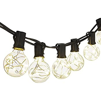 Cymas G40 Globe String Lights, 18.2Ft Indoor/Outdoor Lights 25 LED Bulbs Energy Efficiency for Patio Cafe Bistro Porch Party Wedding Gazebo Backyard UL Listed Can Not Connectable - Warm Light