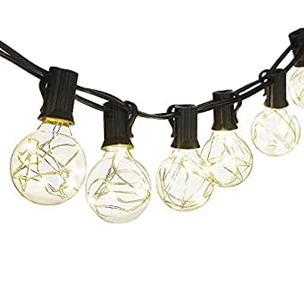 Cymas G40 Globe String Lights, 18.2Ft Indoor/Outdoor Lights 25 LED Bulbs Energy Efficiency for Patio Cafe Bistro Porch Party Wedding Gazebo Backyard UL Listed Can Not Connectable - Black