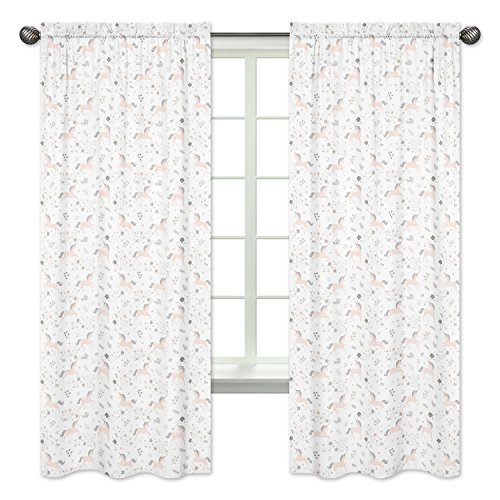 Pink, Grey and Gold Window Treatment Panels Curtains for Unicorn Collection by Sweet JoJo Designs - Set of 2