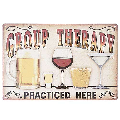 Fine Beer Pub Sign - UNIQUELOVER Plaque Poster Group Therapy Practiced Here Retro Vintage Metal Tin Signs for Cafe Bar Pub Beer Pub Bar Wall Decor 12 X 8