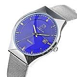YISYA Womens Analogue Quartz Wrist Watch Date Display Ultra Thin Slim Casual Fashion Blue Dial Stainless Steel Band + Owl Pendant Clock
