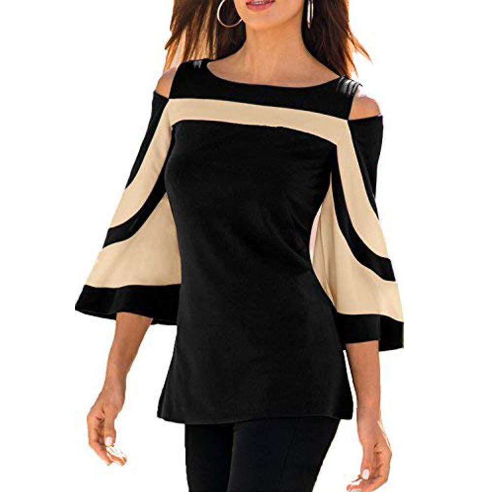 Black Women's Elegant Off Shoulder 3 4 Sleeve Blouse color Striped Flare Shirt Top
