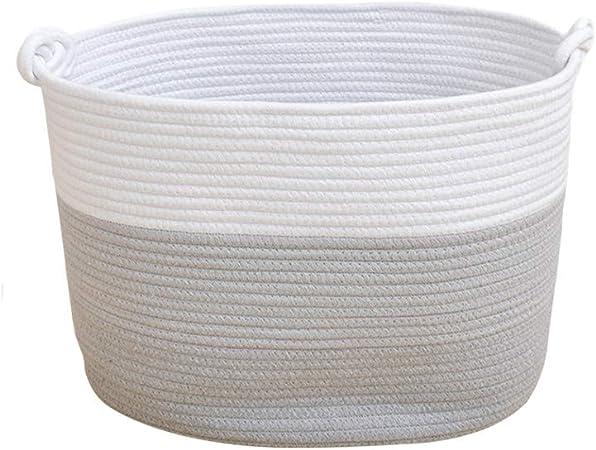 Cesta de almacenamiento de cuerda de algod/ón para la colada 40 x 33 x 30 cm Bekith tama/ño grande