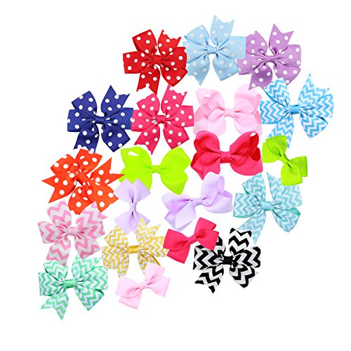 Hair Bows for Girls Baby Toddlers Infant Hair Clips Hair Clips Barrette (20 sort) - Grosgrain Dots Fun