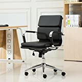 Roundhill Furniture Modica Chromel Contemporary Low Back Office Chair, Black
