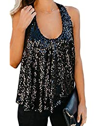Etecredpow Las Mujeres Backless Top Blusa sin Mangas Lentejuelas Tanque Tanques