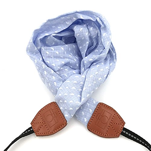 LIFEMATE Camera Strap,DSLR Camera Strap Universal Neck Strap,Fabric Of Bohemia Floral Scarf Camera Strap For Women (blue and white) by LIFEMATE