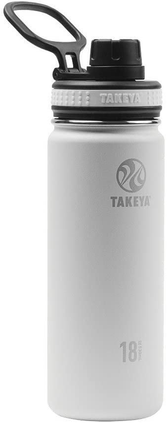 Takeya 50002 Originals Vacuum-Insulated Stainless-Steel Water Bottle, 18oz, White, 18 oz,