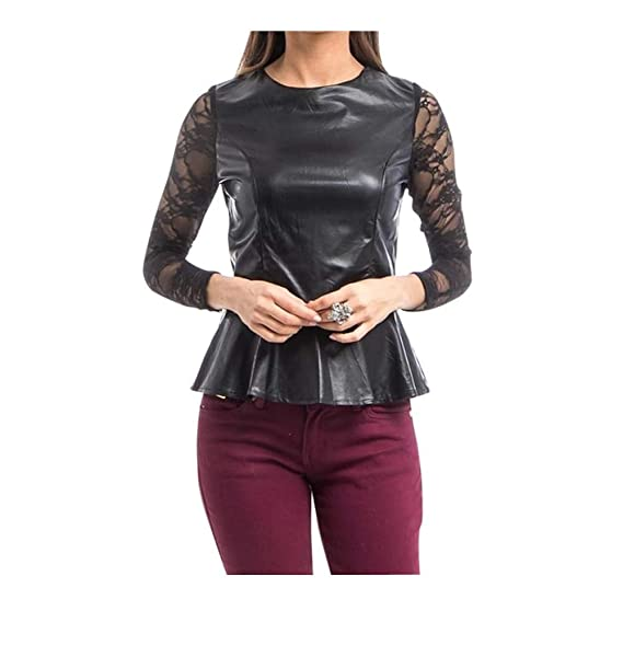 623c0bc82e73 Faux Leather Lace Sleeve Peplum Top Blouse (s) Black at Amazon ...