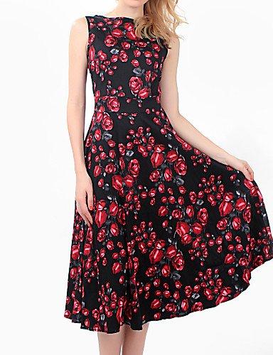 PU&PU Robe Aux femmes Trapèze Soirée / Décontracté , Fleur Col Arrondi Midi Coton / Spandex / Elastique , red-l , red-l