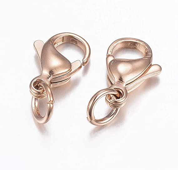 The price is for 25 lobster clasps Lead free and nickel safe 13MM X 7MM 25 GOLD ROSE LOBSTER Clasps Loop 2MM
