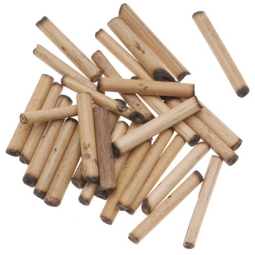 Beadaholique Natural Wood Bamboo Sleek Tube Beads, 21mm by 3.5mm ()