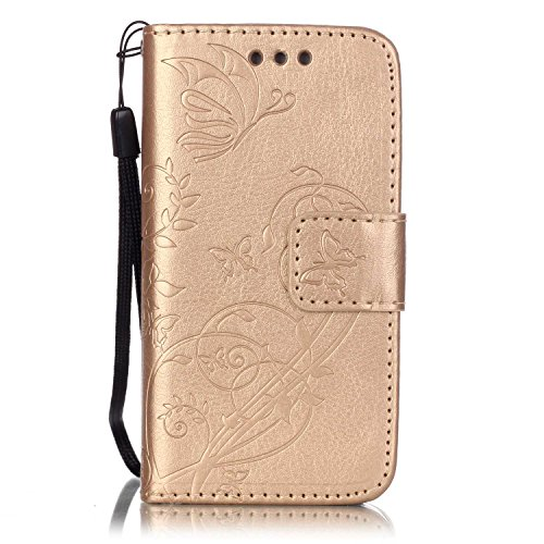 U Leather Flower Butterfly Design Retro Elegant Wallet Flip Protective Case Cover with Stand Compatible with iPhone 4/4S-Butterfly,Gold ()