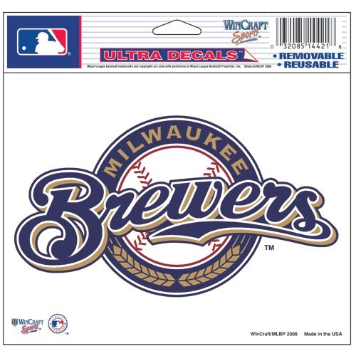 (WinCraft MLB Milwaukee Brewers 14421031 Multi-Use Colored Decal, 5