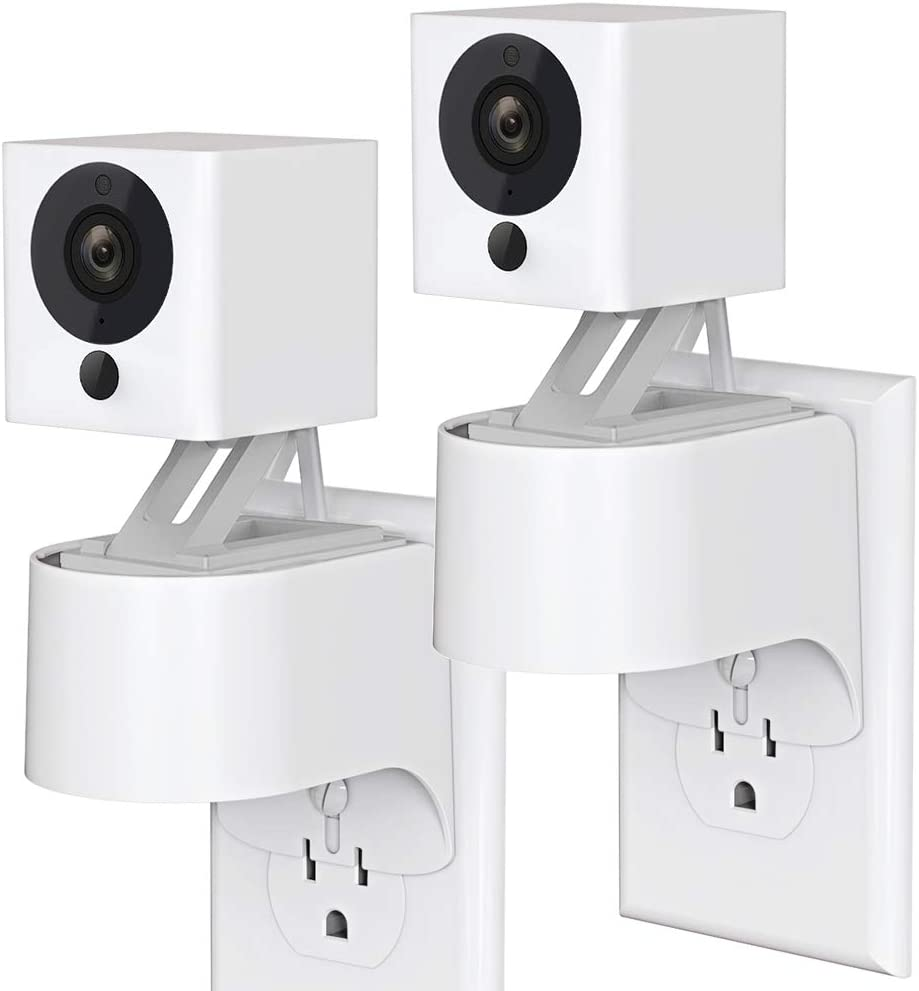 Outlet Wall Mount Compatible for Wyze Cam, Plug-in Wall Mount Stand for Wyze Cam Indoor Smart Home Camera, 360 Degree Swivel and Space Saving Design Without Messy Wires or Wall Damage (2 Pack)