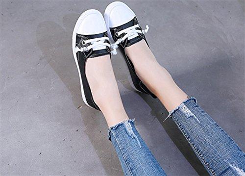 xie Petit Blanc Chaussures Femme en Cuir Une Pédale Paresseux Chaussures Loisirs Polyvalent étudiants Respirant Chaussures Chaussures en Cuir Peu Profonde Bouche Femmes Simples Chaussures 34-39 black jjAnGMYU1