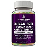SUGAR FREE Hair Gummy Bear Vitamins By Hair Thickness Maximizer | Vegan, Gluten Free Natural Hair Growth Vitamins Enhanced With Biotin & Over 15 Vitamins & Natural Ingredients