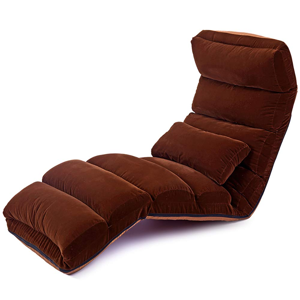 Dark Coffee color Portable Sofa Chair Flannel Simple Floor Leisure Lounge Chair Foldable Armchair Removable - Multiple Adjustable (color   Dark Coffee color)