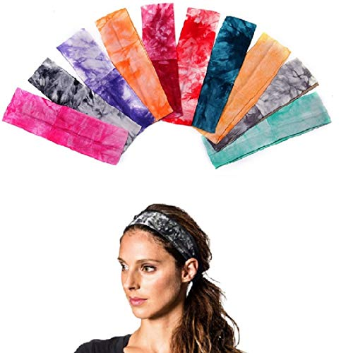 (DoGeek Non Slip Headbands for Women and Men- Mini Hairband with Non Slip Silicone - Sports Headband for Athletics, Running, Soccer, Jogging, Workout (Tie Dye, 10pcs) )